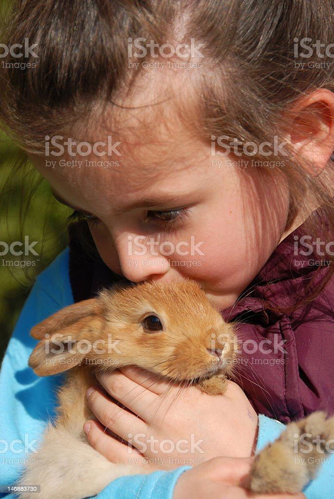 little girl and her bunny royalty-free stock photo