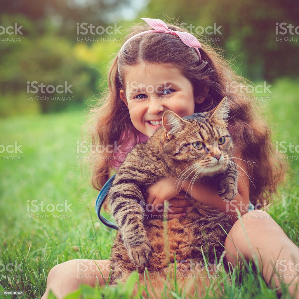 Little girl and her cat stock photo