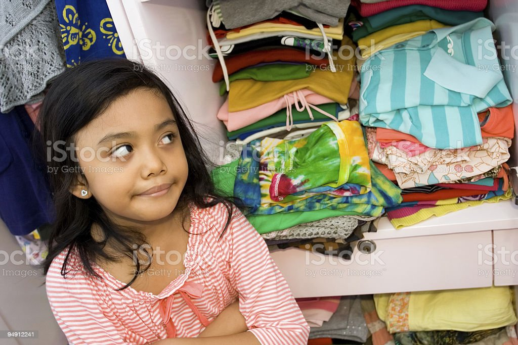 little girl and her clothing collection royalty-free stock photo