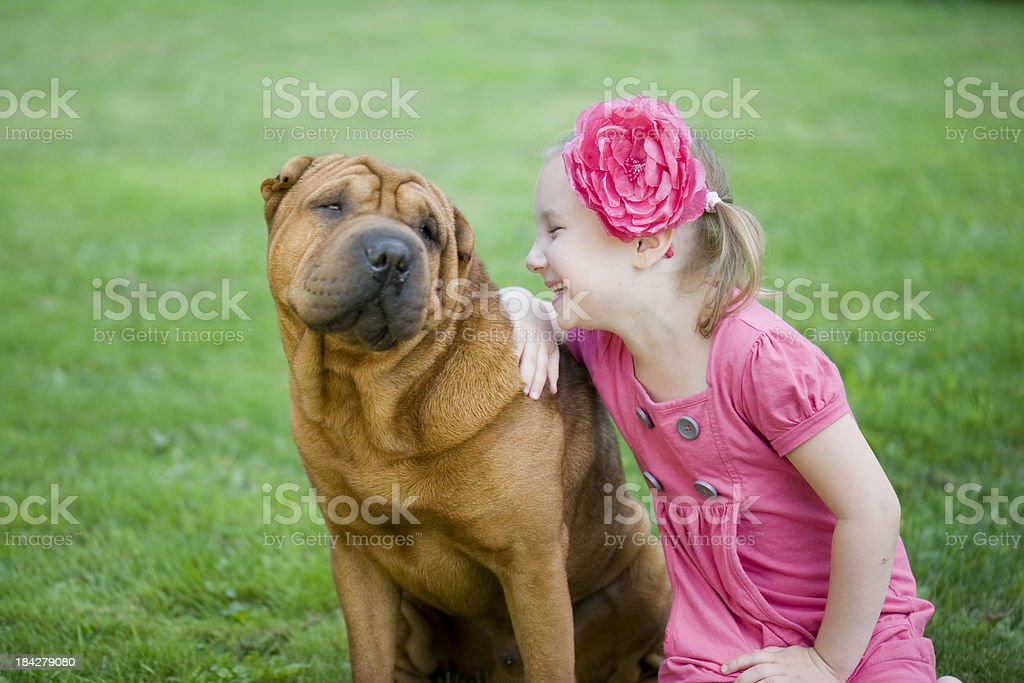Little girl and her dog royalty-free stock photo
