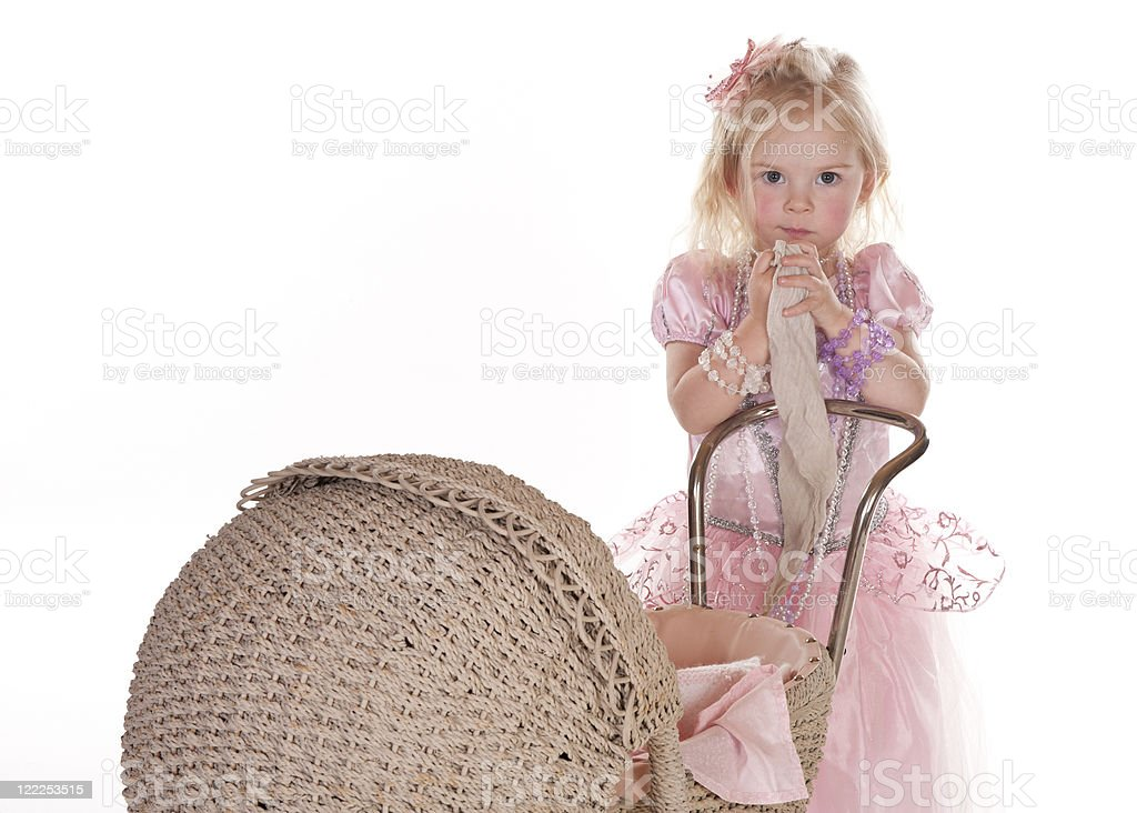 little girl and her security blanket stock photo