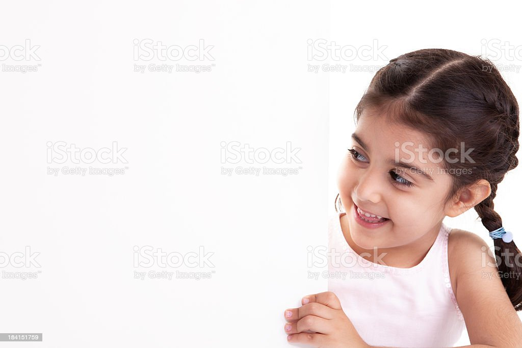 Little Girl and Placard royalty-free stock photo