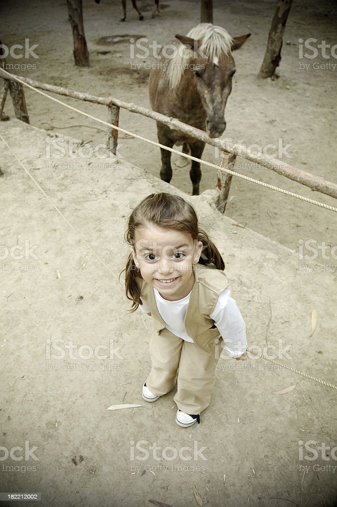 little girl and pony royalty-free stock photo