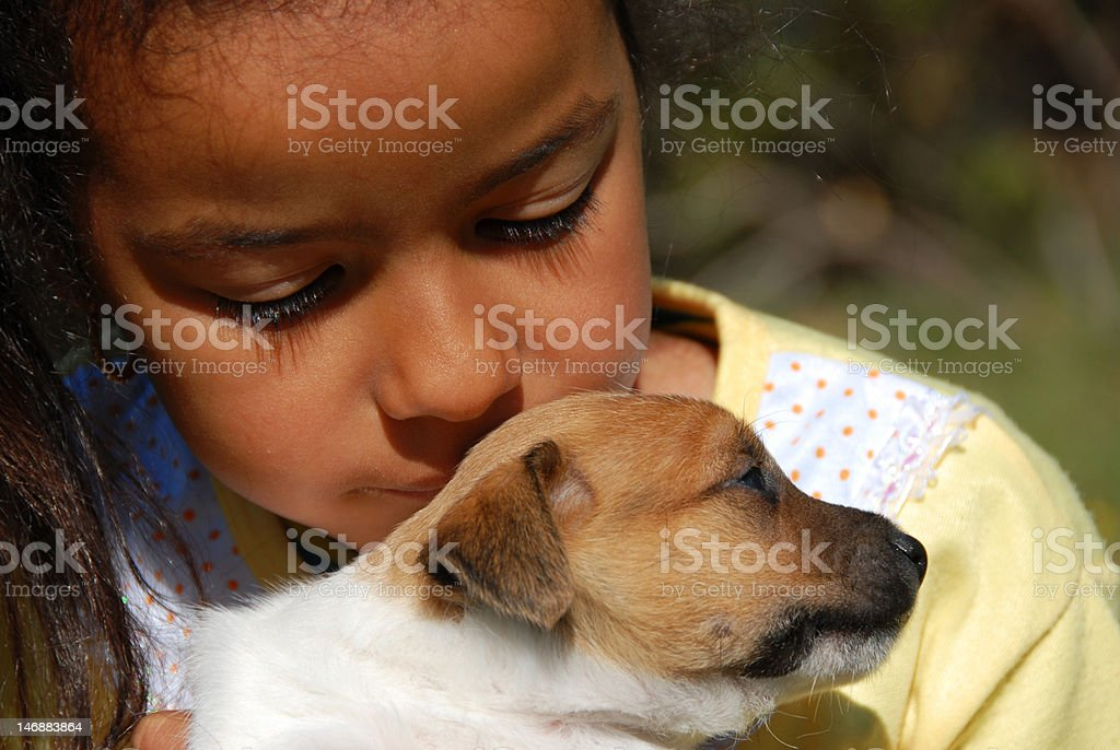 little girl and puppy royalty-free stock photo