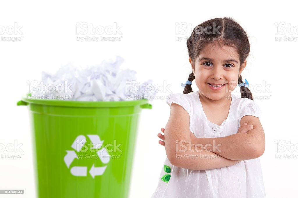 Little Girl and Recycling royalty-free stock photo