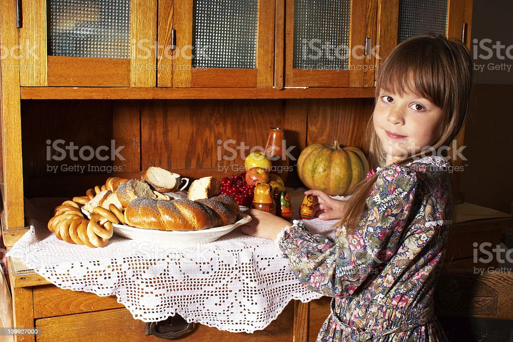 little girl and the Russian dolls royalty-free stock photo
