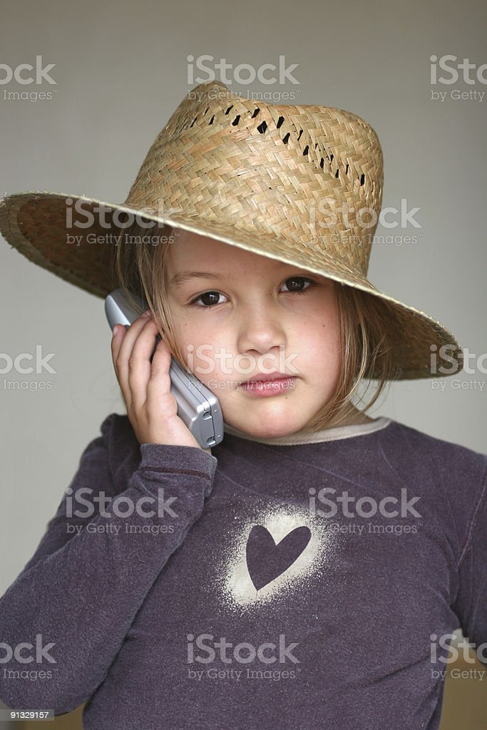 Little Girl and the Telephone royalty-free stock photo