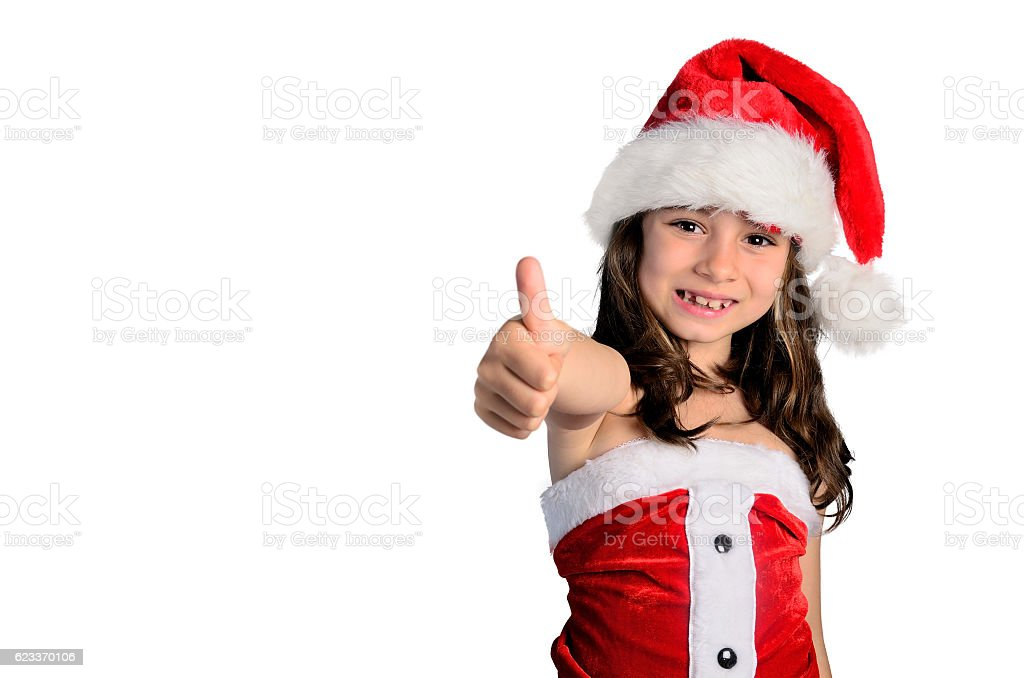 little girl approved christmas stock photo