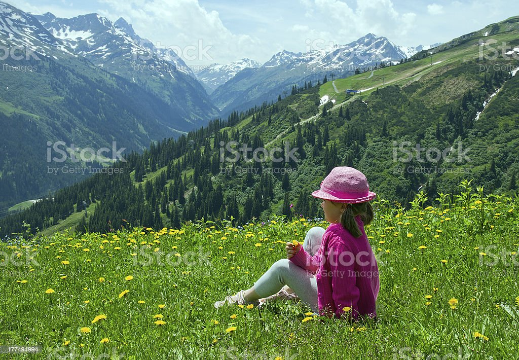 Little girl at Alpine meadows royalty-free stock photo