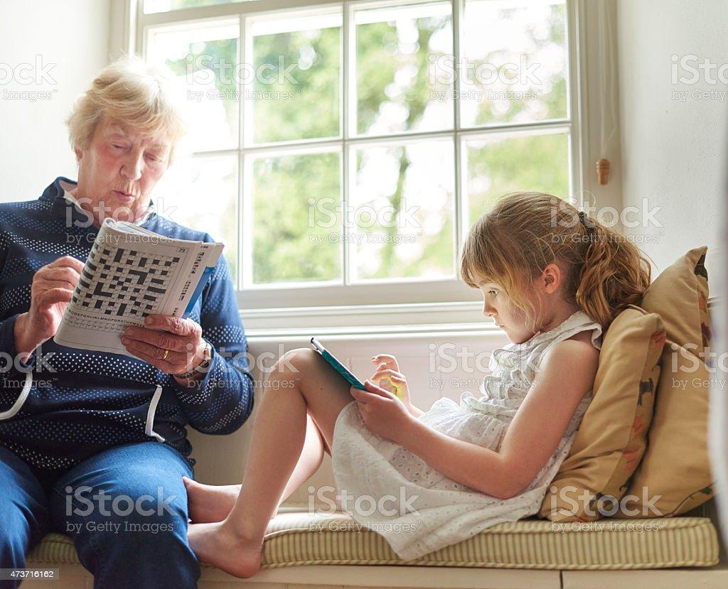 little girl at grandma's house stock photo