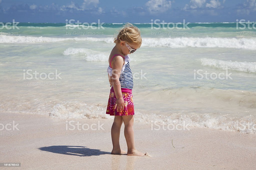 Little girl at the beach in Dominican Republic royalty-free stock photo