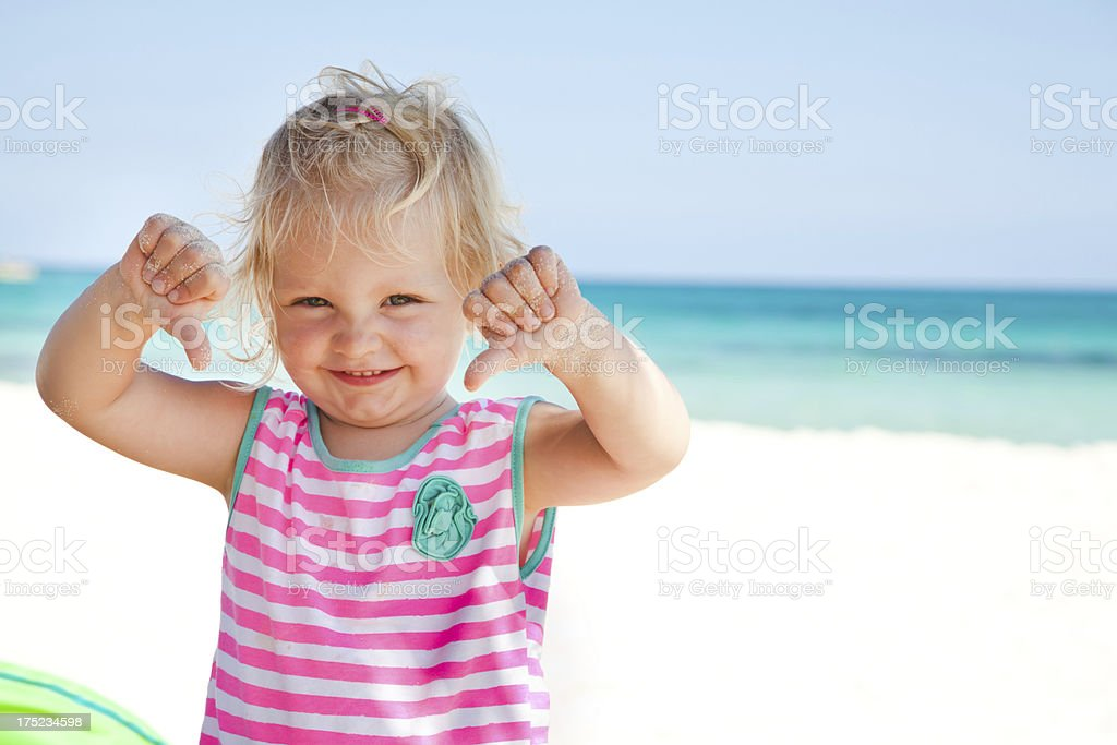 Little girl at the beach in Mexico royalty-free stock photo