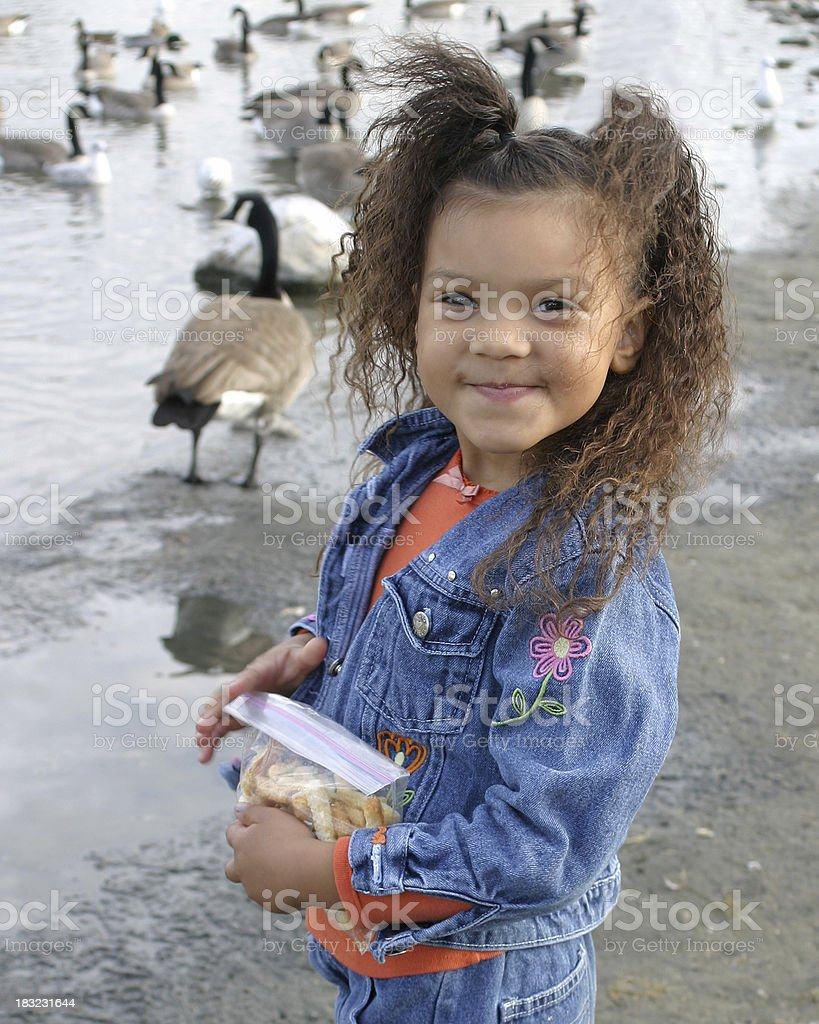 Little Girl at the Duck Pond stock photo
