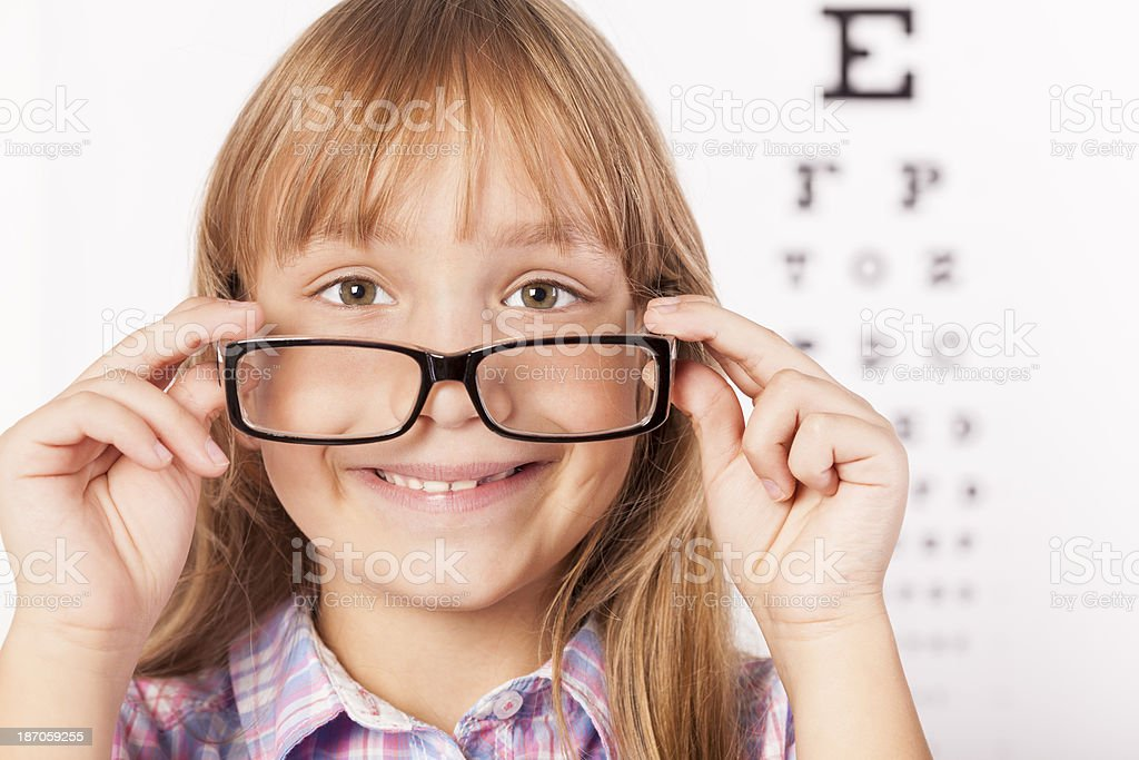 Little girl at the ophthalmologist's office royalty-free stock photo