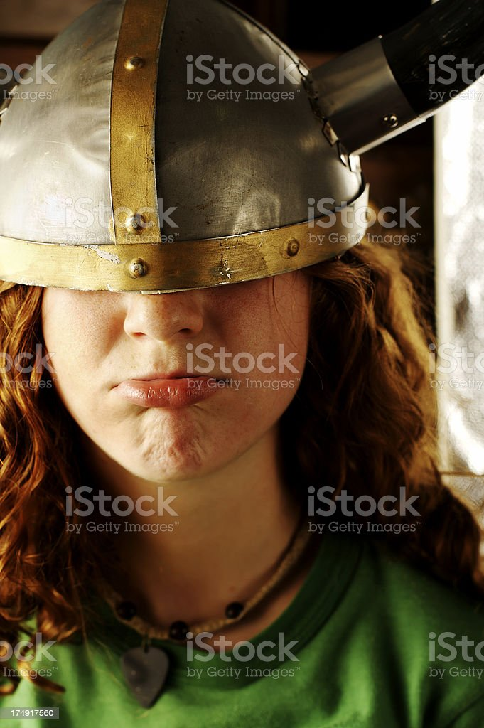 Little Girl, Big Helmet stock photo