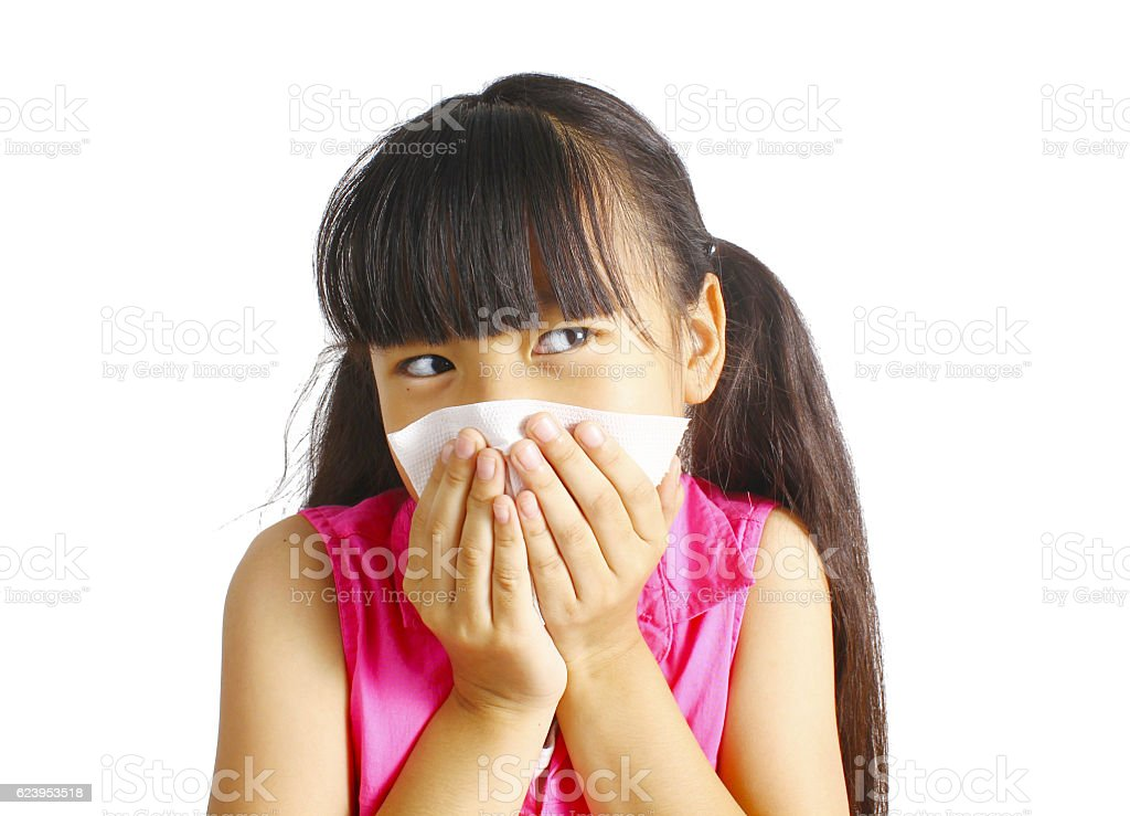 Kleines Mädchen bläst immer die Nase  Lizenzfreies stock-foto