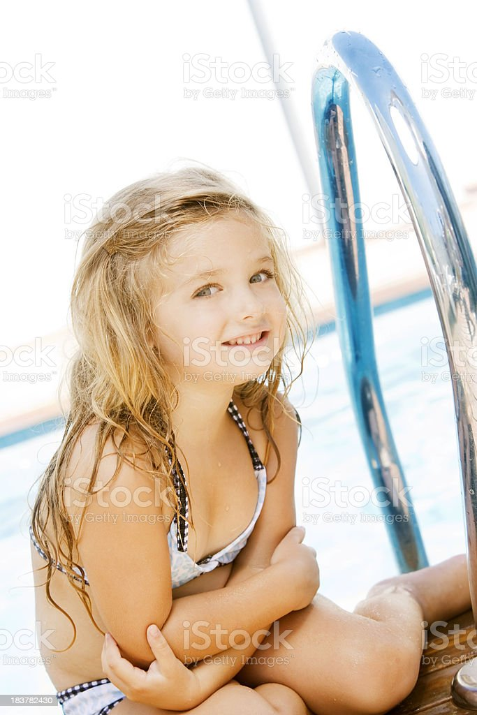 Little Girl by Poolside royalty-free stock photo