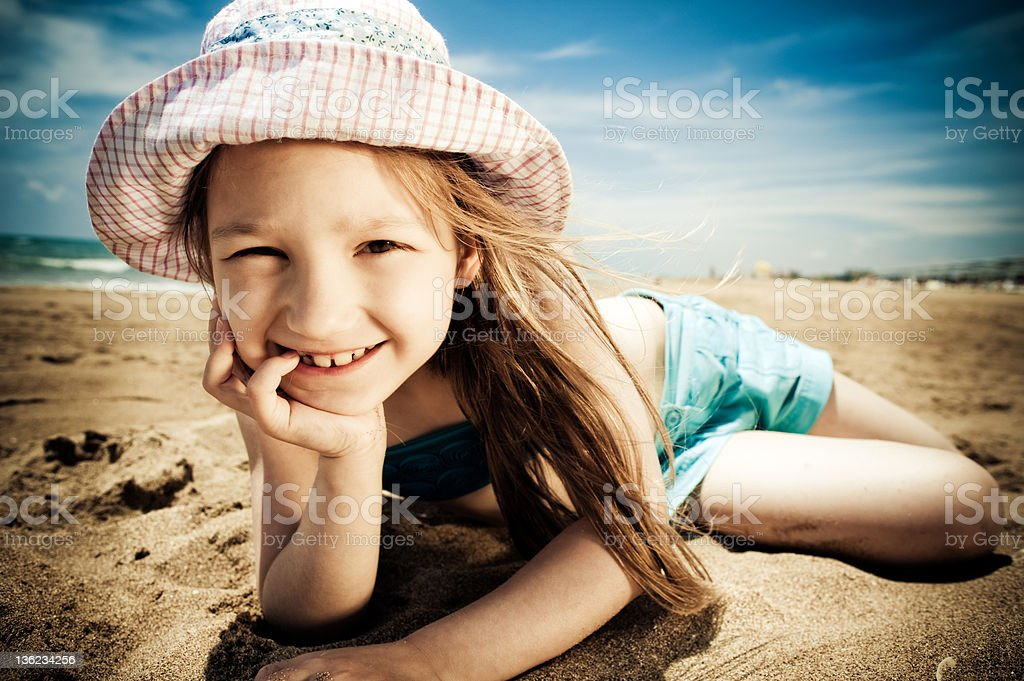 Little girl by the sea royalty-free stock photo