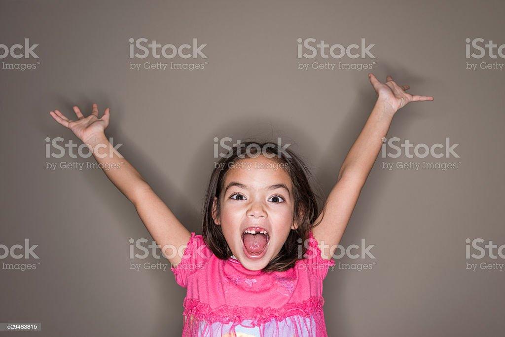 Little Girl Celebrating stock photo