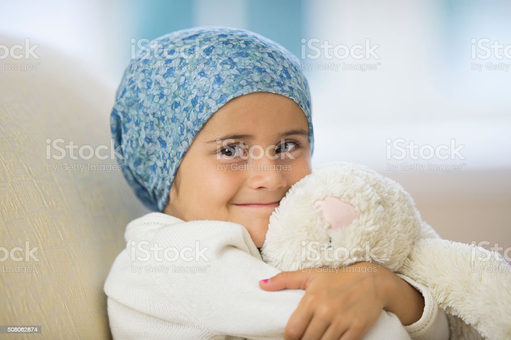 Little girl chemotherapy stock photo