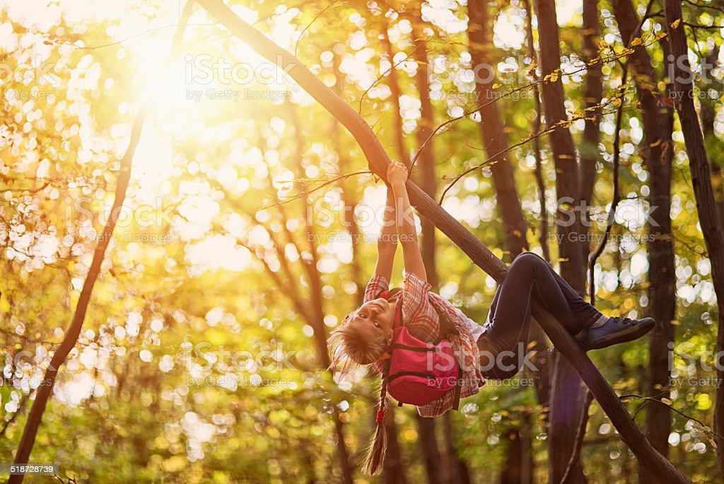 Little girl climbing the tree stock photo