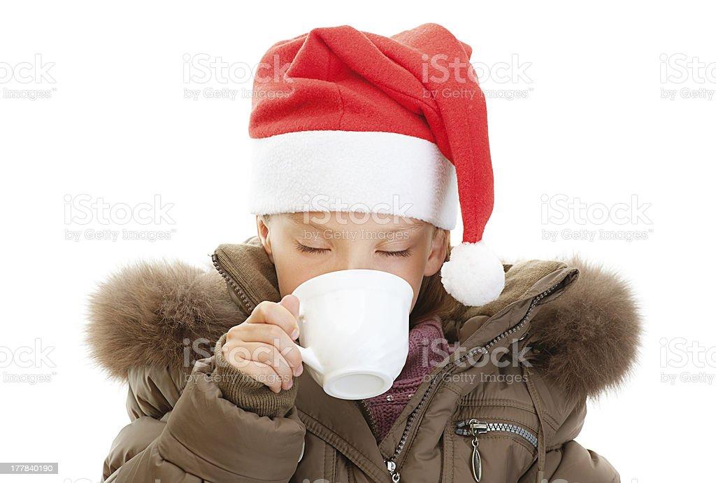 little girl closeup in warm winter jacket stock photo