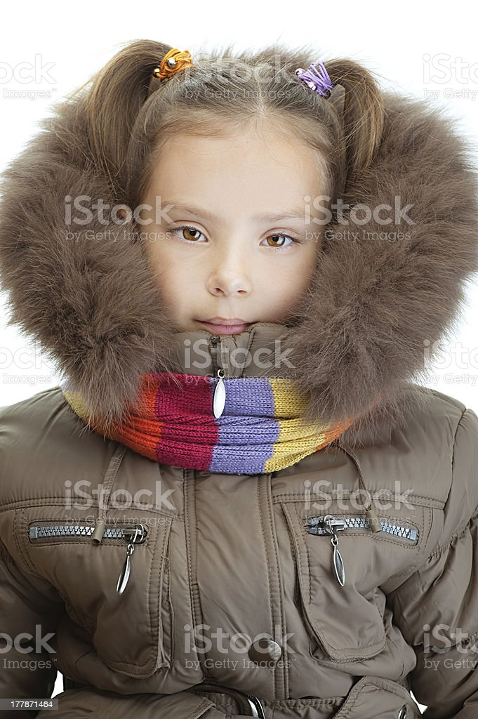 little girl closeup in warm winter jacket royalty-free stock photo