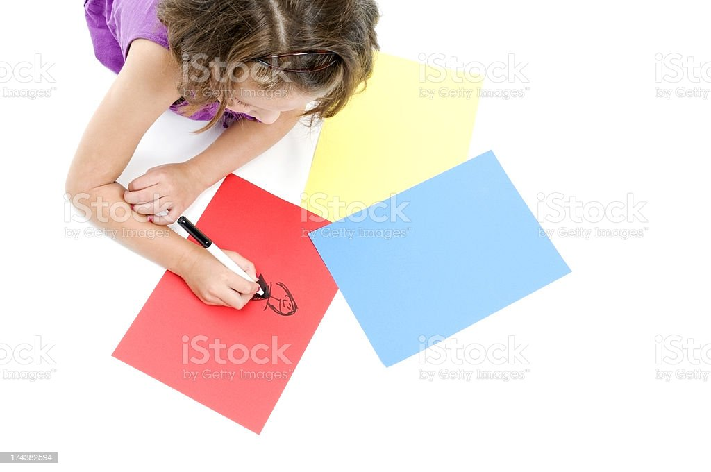 Little Girl, Colorful Drawings royalty-free stock photo