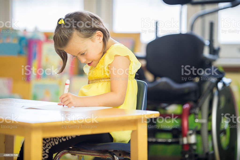 Little Girl Coloring a Picture vector art illustration