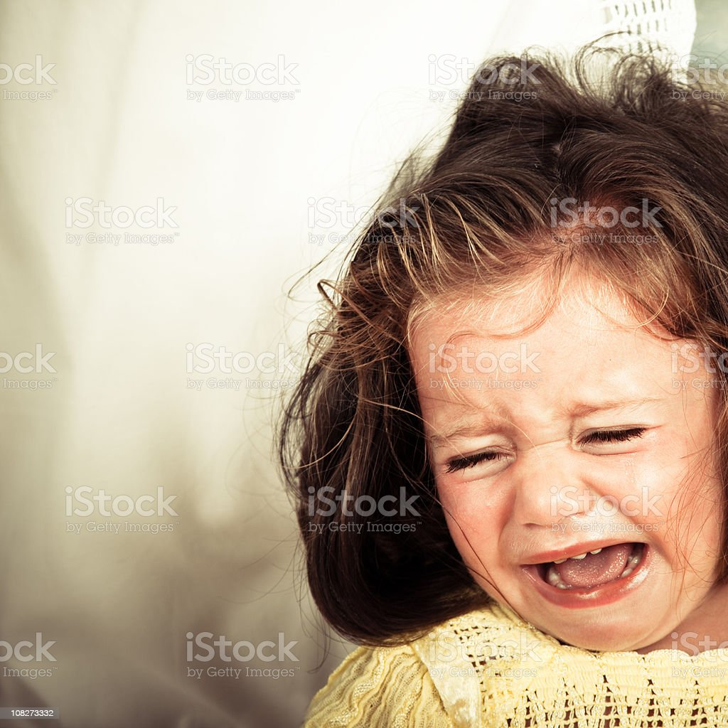 Little Girl Crying Desperately royalty-free stock photo