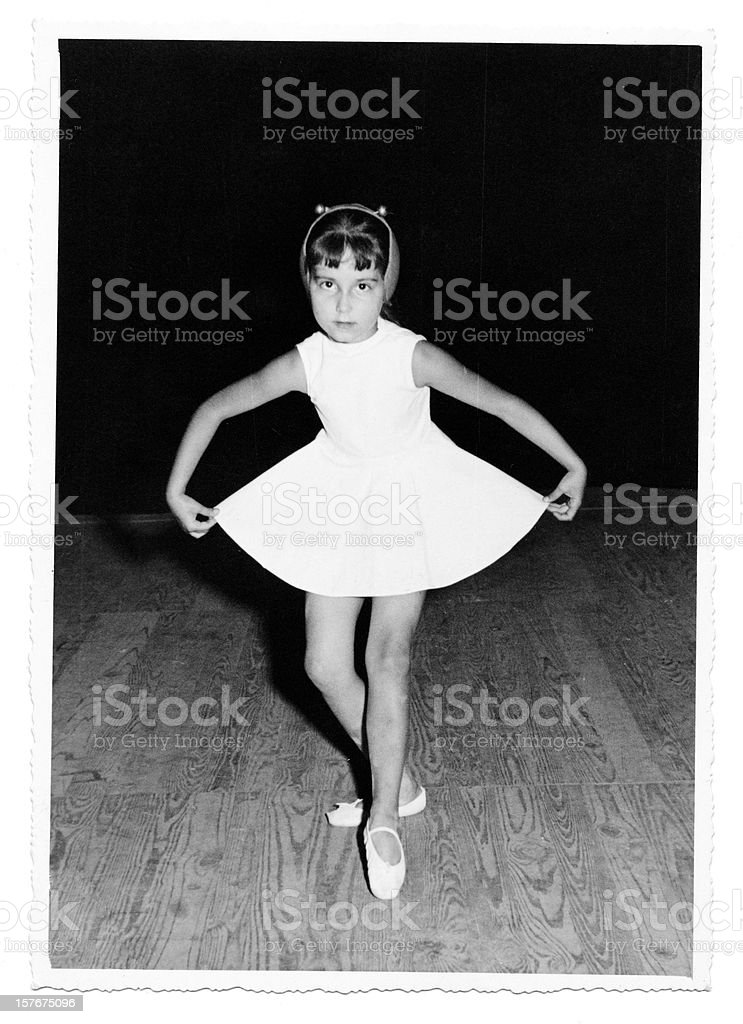 Little Girl Dancing on Stage in 1958.Black And White. stock photo