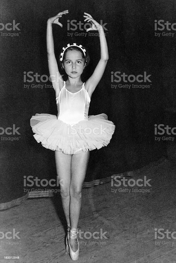 Little Girl Dancing on Stage in 1959.Black And White. royalty-free stock photo