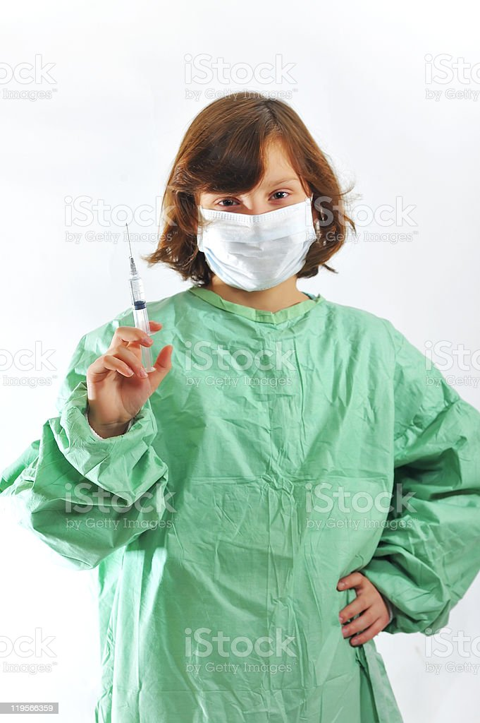 little girl doctor with syringe royalty-free stock photo