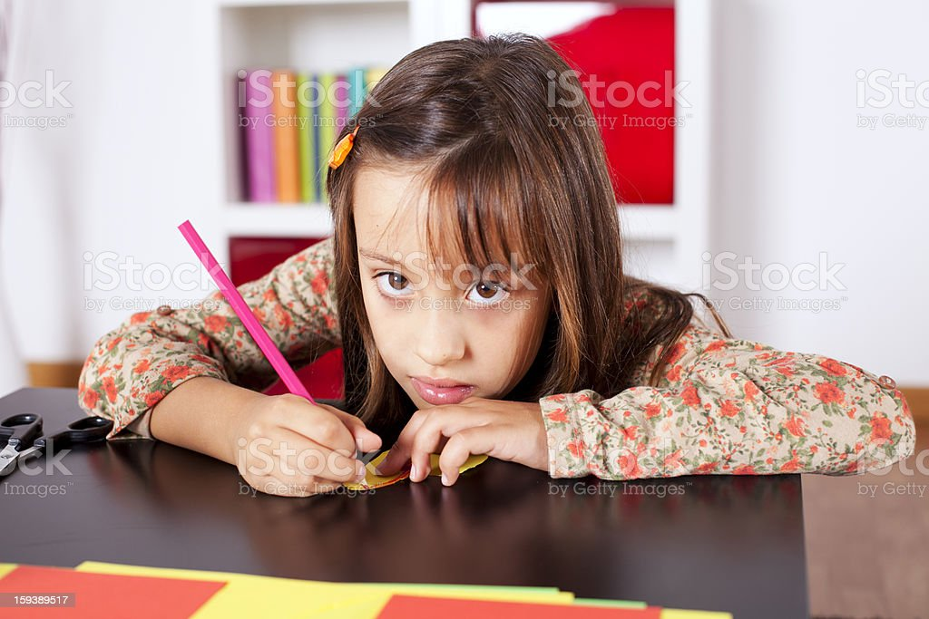 Little girl drawing at school royalty-free stock photo