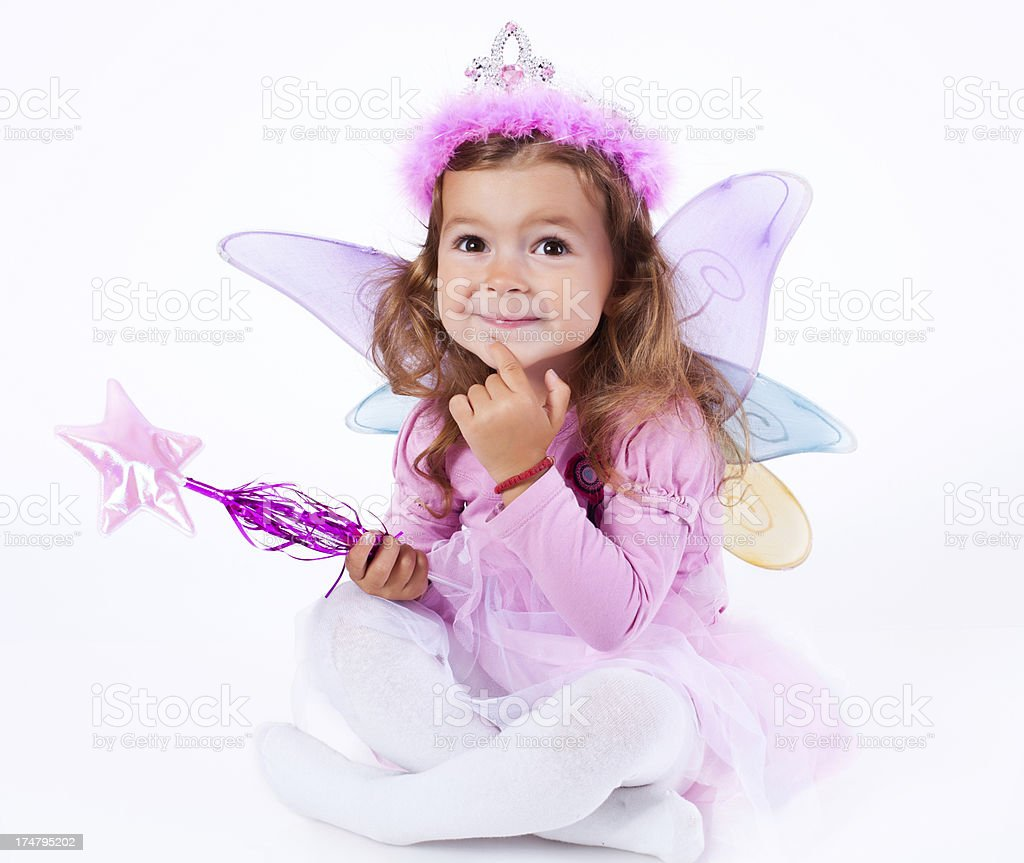 Little girl dressed up as a Fairy stock photo