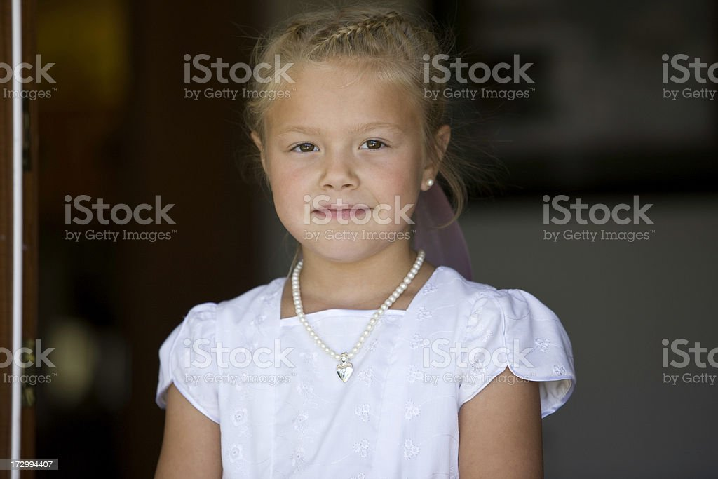 Little Girl Dressed up for Wedding royalty-free stock photo