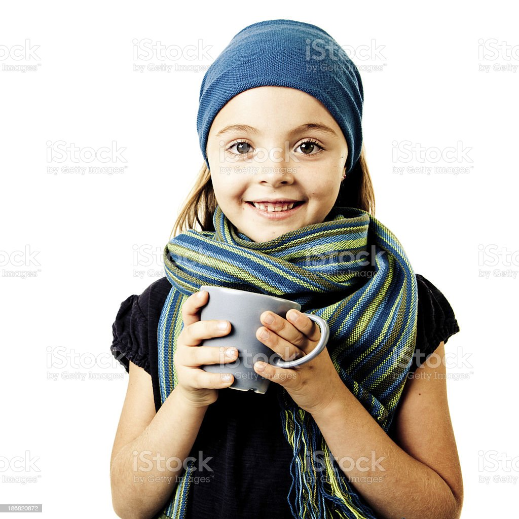 Little girl drinking hot chocolate royalty-free stock photo