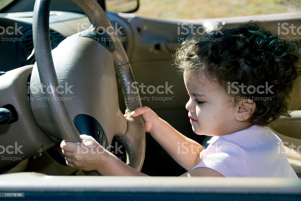 Little Girl Driving royalty-free stock photo