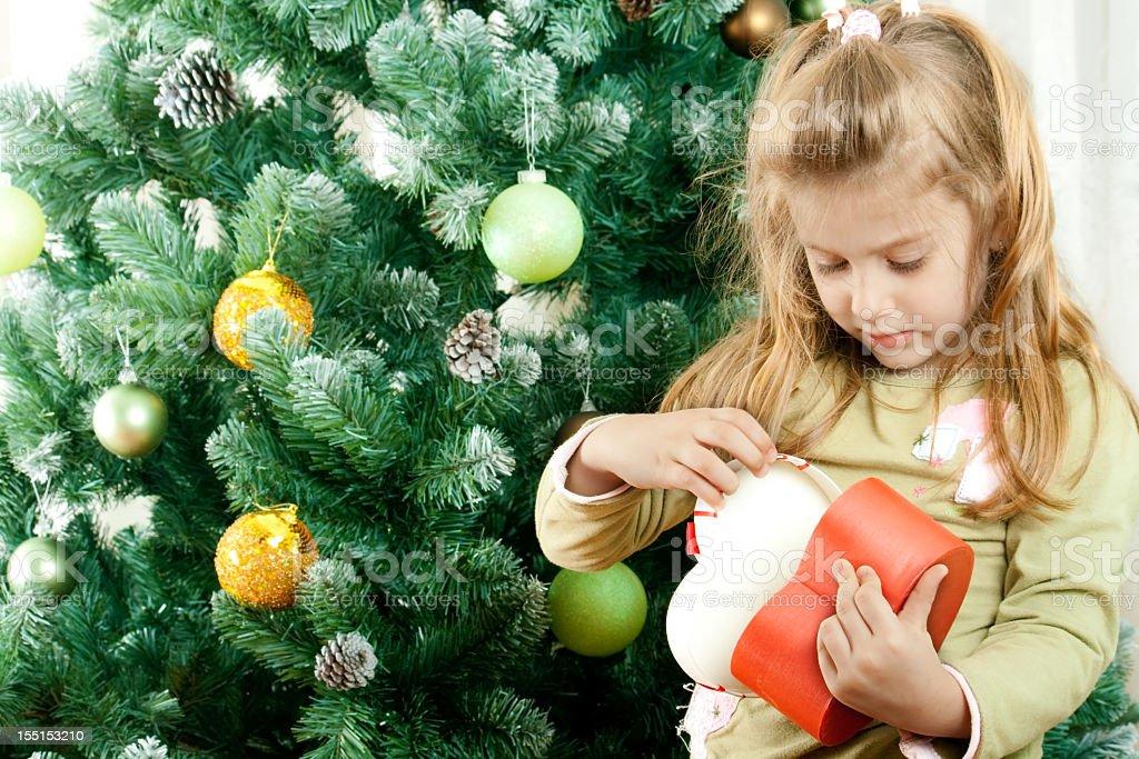 Little Girl during Christmas stock photo