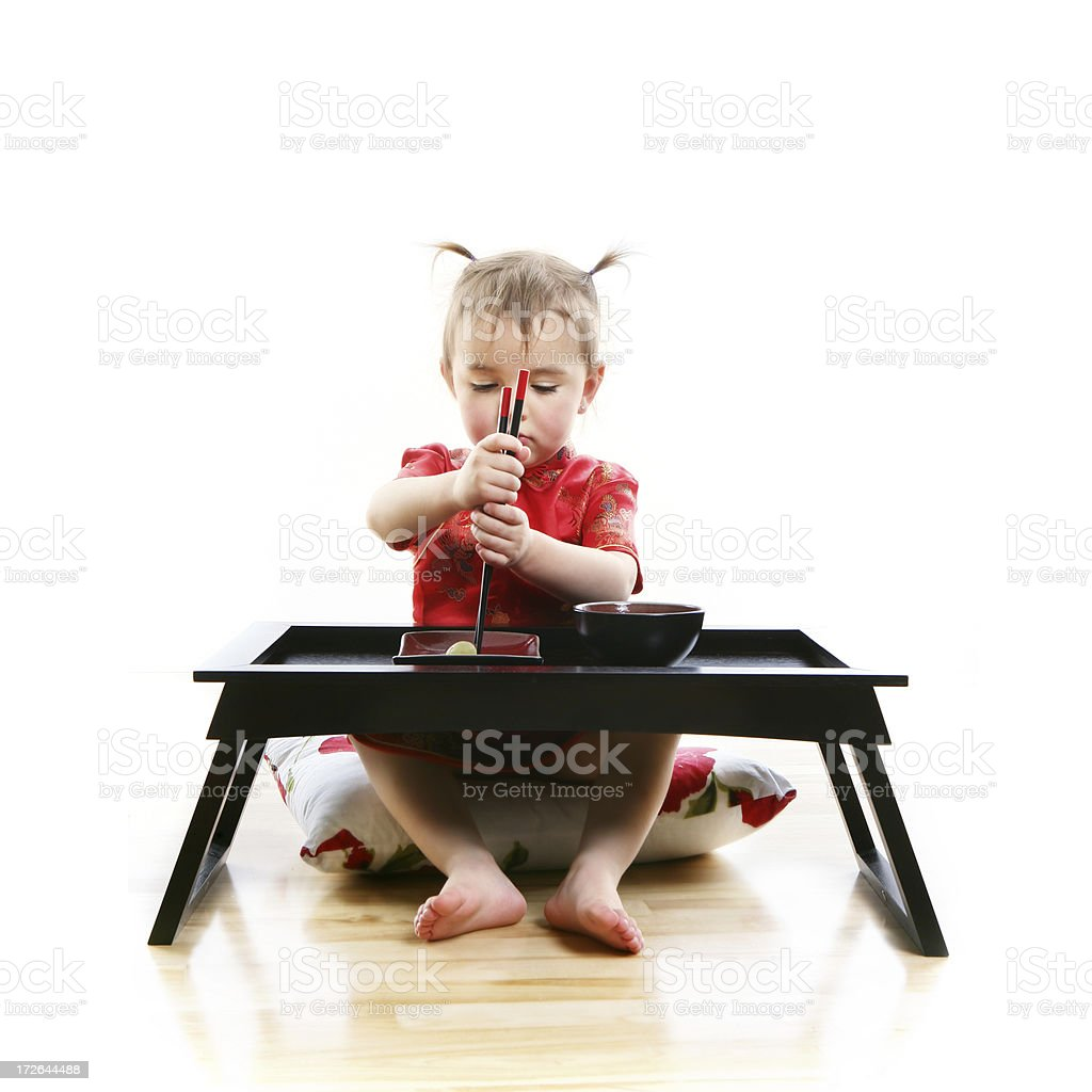 Little Girl eating Grape a la japonnaise royalty-free stock photo