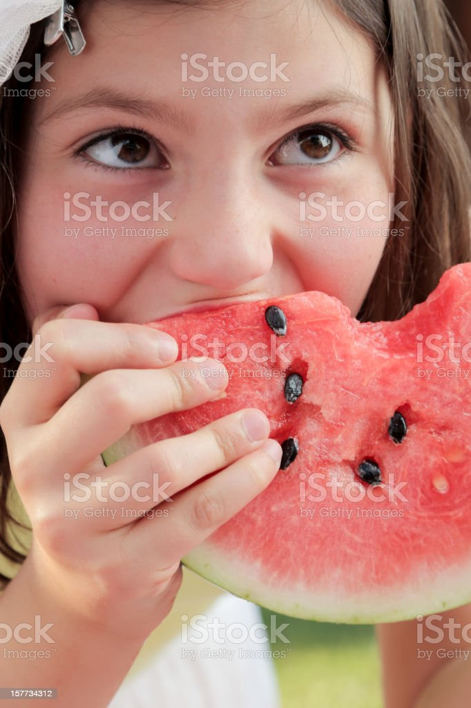 Little Girl Eating Watermelon royalty-free stock photo
