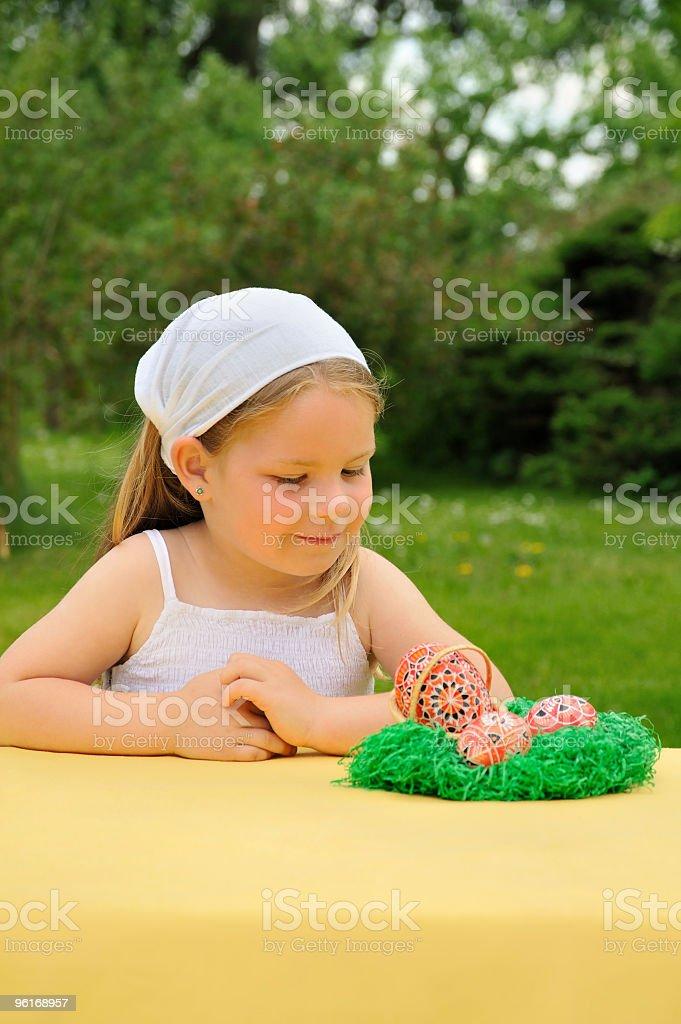 Little girl enjoying Easter time royalty-free stock photo