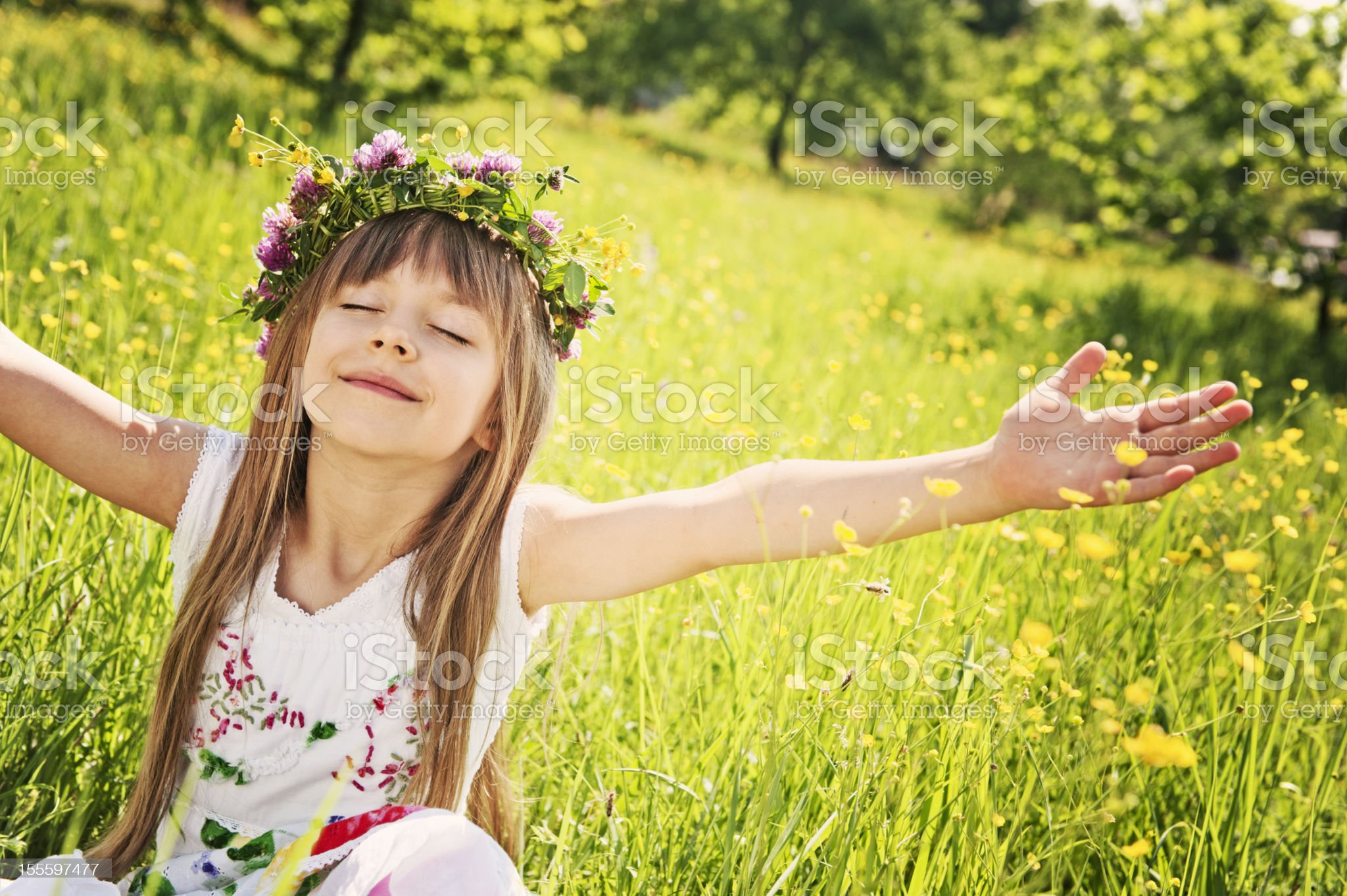 Little girl enjoying spring royalty-free stock photo