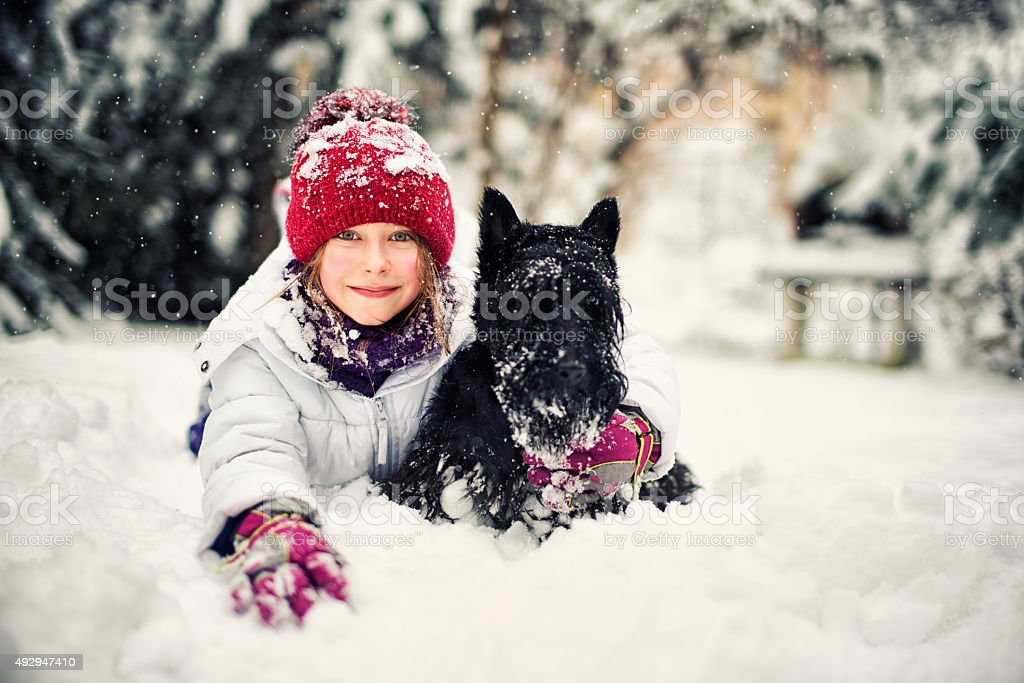 Little girl enjoying winter with her dog. stock photo