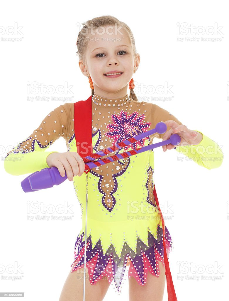 Petite fille exercices de gymnastique Macis photo libre de droits