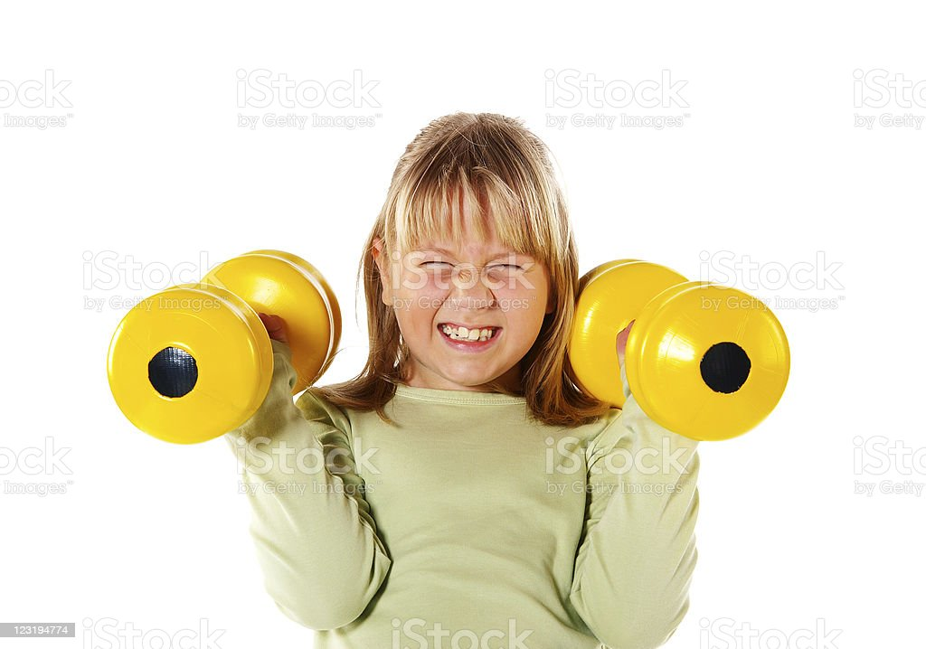 Little Girl  Exercising With Weights stock photo