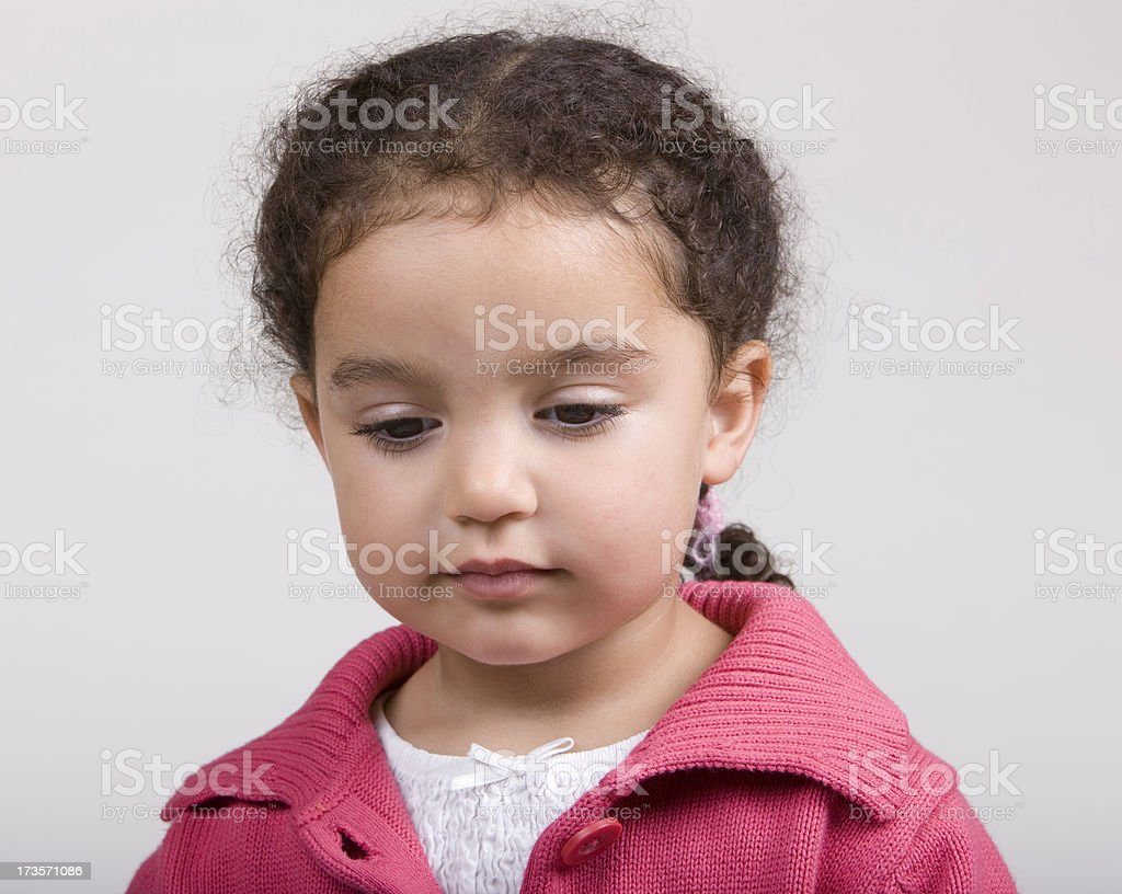Little Girl Eyes Looking Down royalty-free stock photo