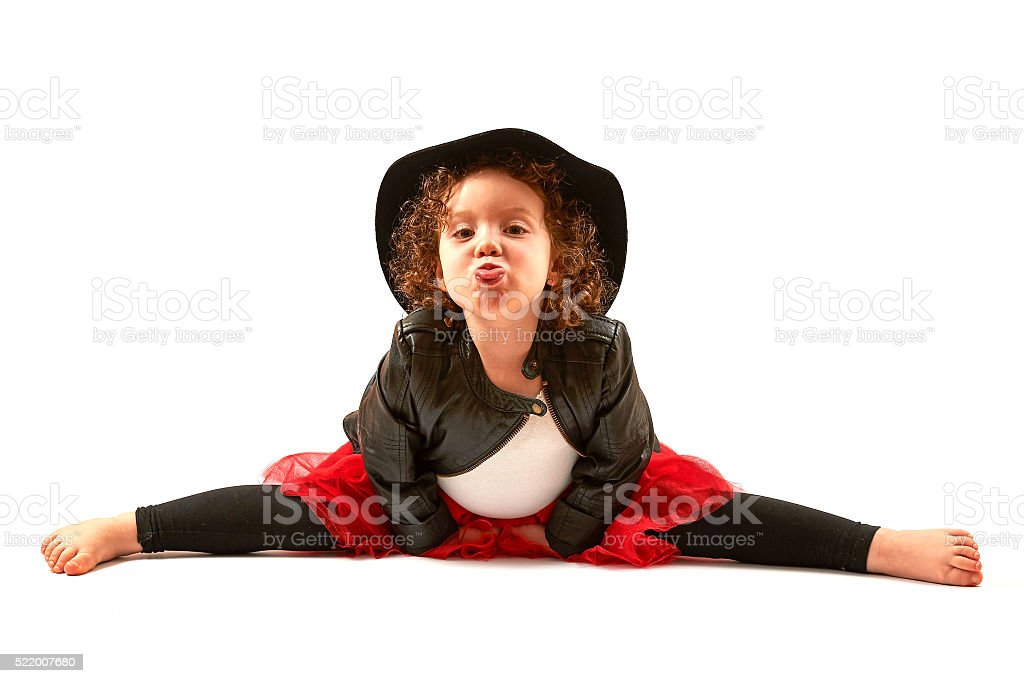 Little Girl Fashion Model With Black Hat stock photo