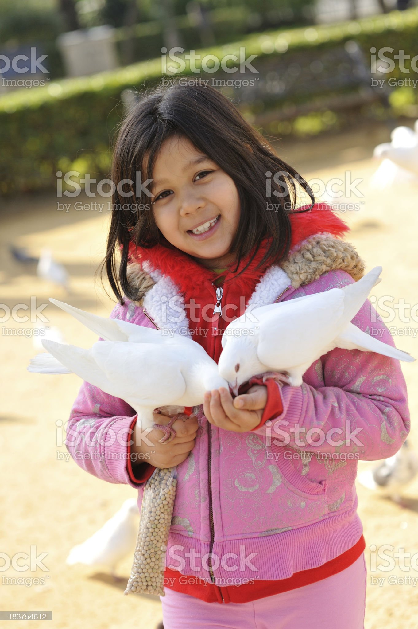 Little girl feeding pigeons at the park in Spain royalty-free stock photo