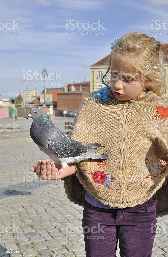 Little girl feeds doves in the city. royalty-free stock photo